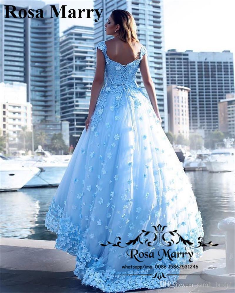 Grosshandel Prinzessin 3d Floral Cinderella Arabisch Prom Kleider 2020 Hellblau Vintage Lace Plus Size Ballkleid Tull Pageant Formale Abendgesellschaft Kleider Von Sarah Bridal 219 79 Auf De Dhgate Com Dhgate