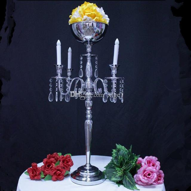 H84cm серебро 5 голов Кристалл канделябры, подсвечник, свадьба Центральным, цветок чаша подсвечник с подвесками 10 шт./лот