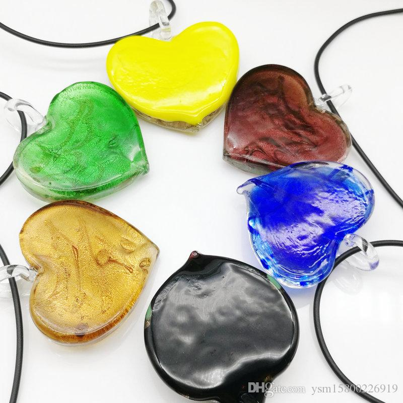6x Herz Lampwork Murano Glas Halskette Anhänger CHIC