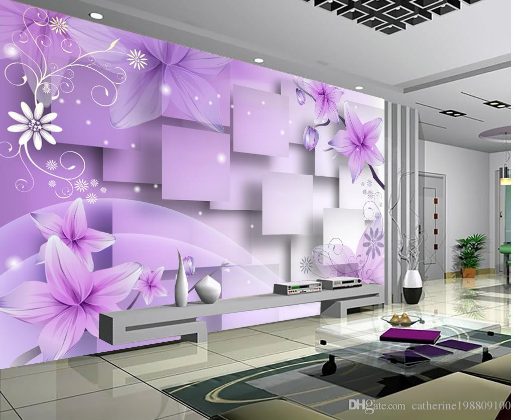 photo customize size 3d purple warm flowers
