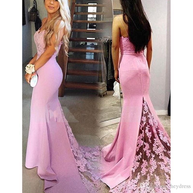 Compre Vestidos De Noche Largos De La Sirena Rosada 2017 Correas De ...