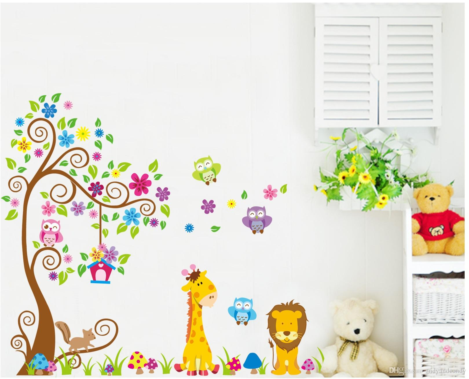 cartoon diy owl giraffe animals removable wall sticker cute lion cartoon diy owl giraffe animals removable wall sticker cute lion pvc decal stickers wallpaper for kids baby nursery room home decoration wall decals large