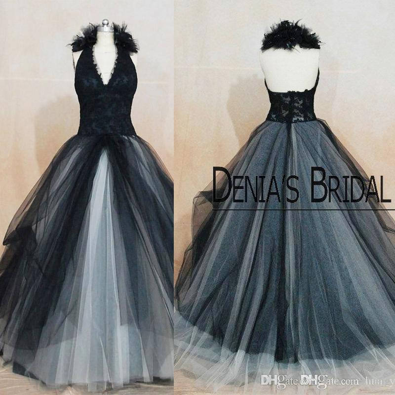 Vintage Black Wedding Dresses Angelina Julie Princess Halter Lace ...