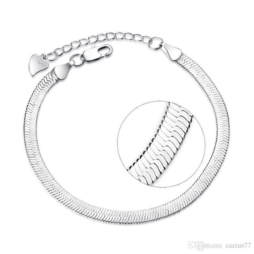 S 925 Stamped Silver Plated Bracelet Jewelry slim Flat Snake Chain Bracelet New Blade bracelet for women