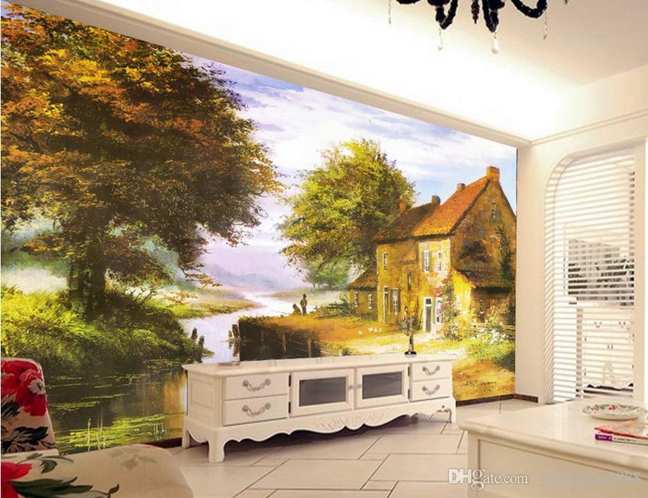 wallpaper for children's bedroom Custom Red colorful trees landscape painting 3d wallpapers for wall