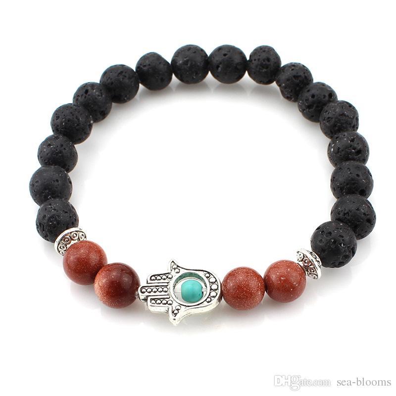8mm Chakras Gemstone Bracelet Lava Stone Reiki Healing Balancing Hamsa Evil Eye Hand Meditation Yoga Jewelry Stretch Bracelet B351s