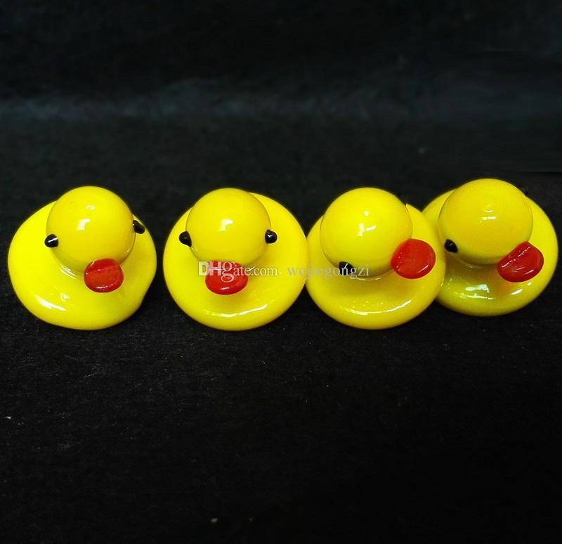 All'ingrosso Duck UFO Carb Cap solido vetro colorato giallo anatra cupola 24mm 4mm Thermal P Quartz banger Nails tubo dell'acqua bong in magazzino