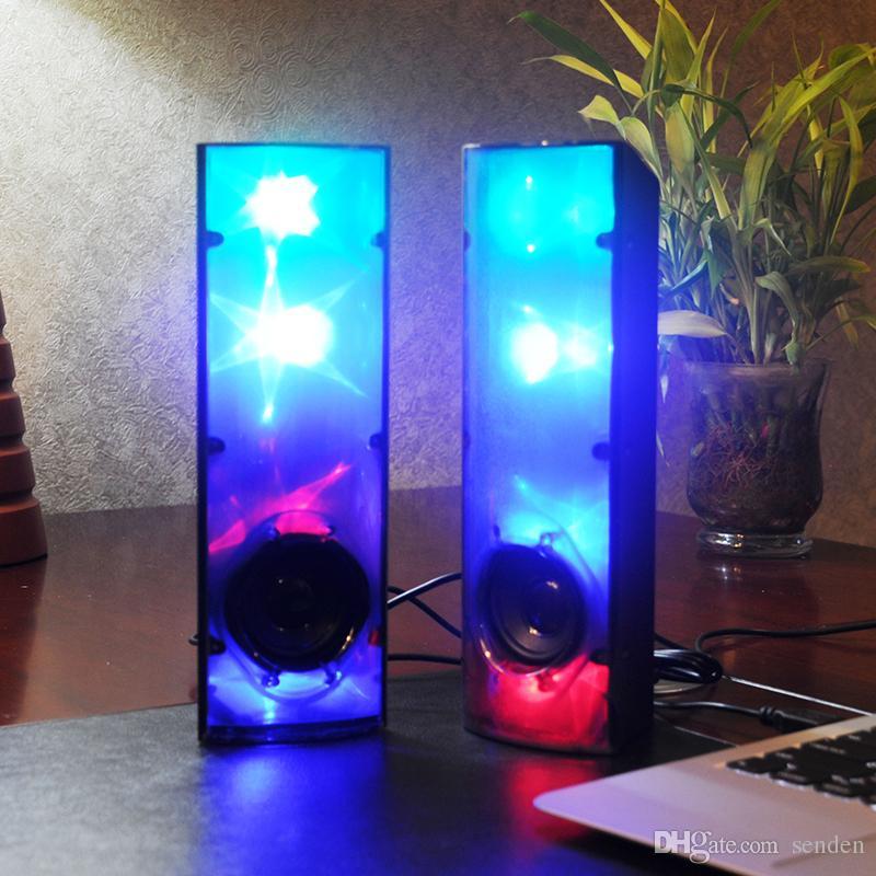 Incroyable 3D Stars Music lumière lumineuse haut-parleur stéréo LED Clignotant lumière USB 2.0 multimédia Subwoofer Aux-in pour ordinateur / téléphone portable / ordinateur portable