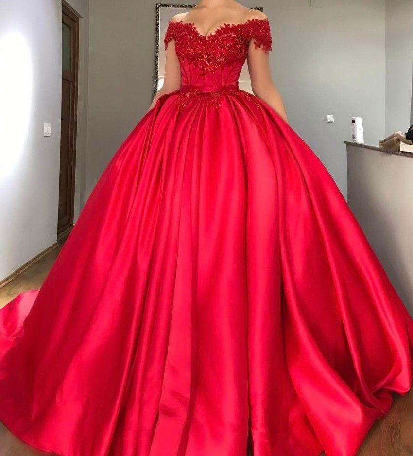 Bescheidene Off Shoulder Red Ballkleid Quinceanera Kleider Appliques Perlen Satin Korsett Lace Up Prom Kleider Sweet Sixteen Kleider