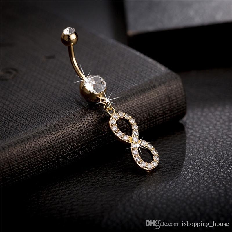 Beyaz / Pembe Kristal Rhinestone Kolye Çelik Paslanmaz 18 K Sarı / Beyaz Altın Kaplama Numarası 8 Şekil Belly Halkası Düğmesi Yüzük Vücut Piercing