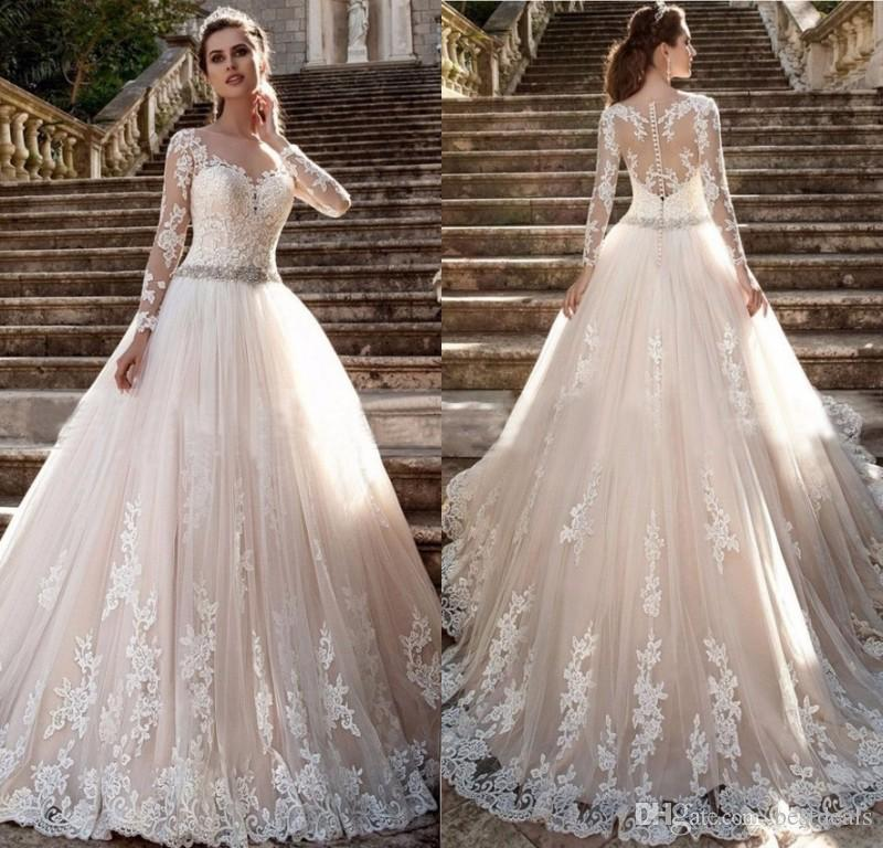 Discount Gorgeous Court Train Ivory French Lace Full Sleeve Wedding Dress  With Beading Sash Holy Wedding Corset Dress 2017 Bridal Gowns Lace Wedding  Gown ... 456ceba508b7