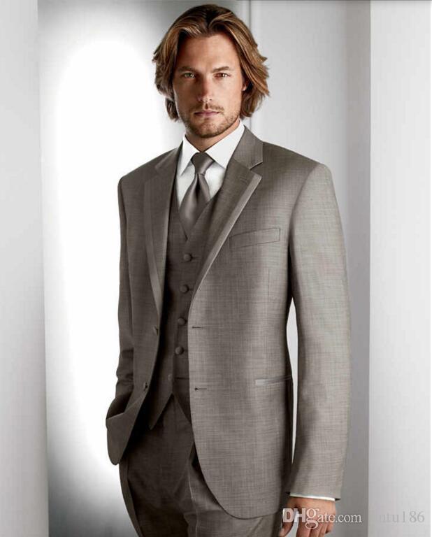 Yeni Koyu Gri Damat Smokin Takım Elbise Ofis Takım Elbise Fit Slim Örgün Parti Akşam Sağdıç Erkekler Suits Ceket + Pantolon + yelek