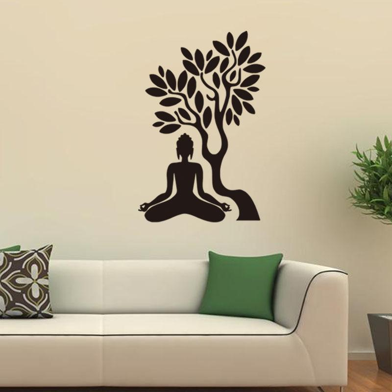 Kids Bedroom Tree 57x38cm buddha under the bodhi tree vinyl wall stickers removable