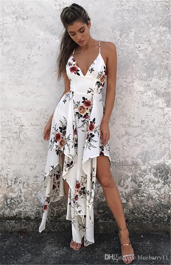 moda bohemien estate sexy profondo scollo av maxi vestito lungo stampa floreale casual allentato senza maniche elegante boho beach dress bianco abbigliamento donna