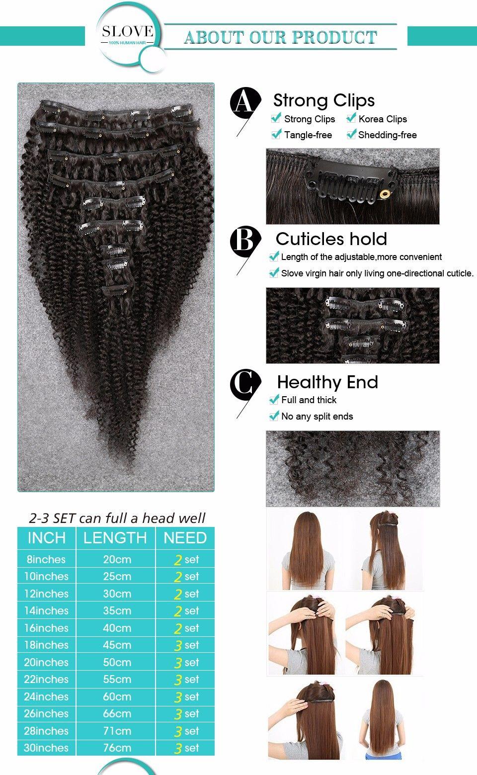 African American Clip In Human Hair Extensions Virgin Brazilian Hair Afro Kinky Curly Human Hair Clip Ins Full Head 100g