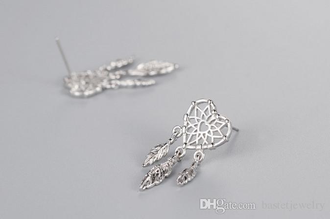New Fashion 925 Sterling Silver Leaf Tassel Earrings Dreamcatcher With Feathers Stud Earring for Women Lover Heart Earring Jewelry