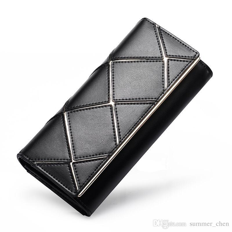 Hot 100% Echtes Leder Wristlet Day Clutch Abendtaschen Diamantgitter Mode Frauen Handytasche Geldbörse