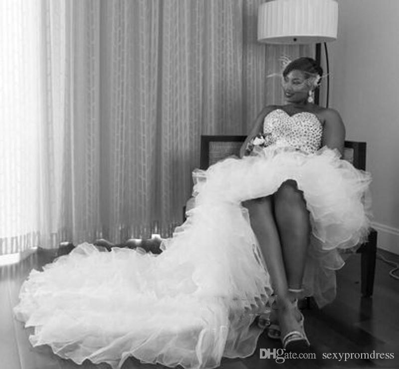 수정 구슬 높은 낮은 웨딩 드레스 아프리카 플러스 크기 아가의 신부 드레스 얇은 명주비의 훈련 웨딩 Vestidos
