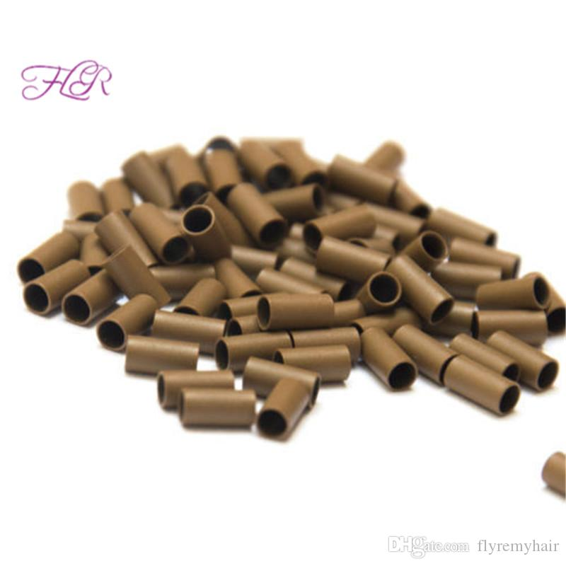 Micro Ring Loop Link Beads Straight Copper Beads Feather Hair Extension Tools 3.4x3.0x6.0mm bag