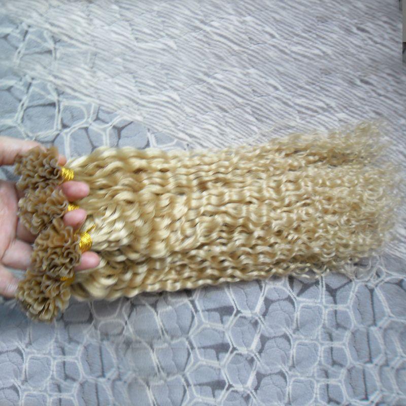 Cabelo brasileiro loiro Kinky Curly U Dica Extensões de Cabelo Humano 200g 1g / strand Queratina cápsulas de extensão do cabelo de fusão