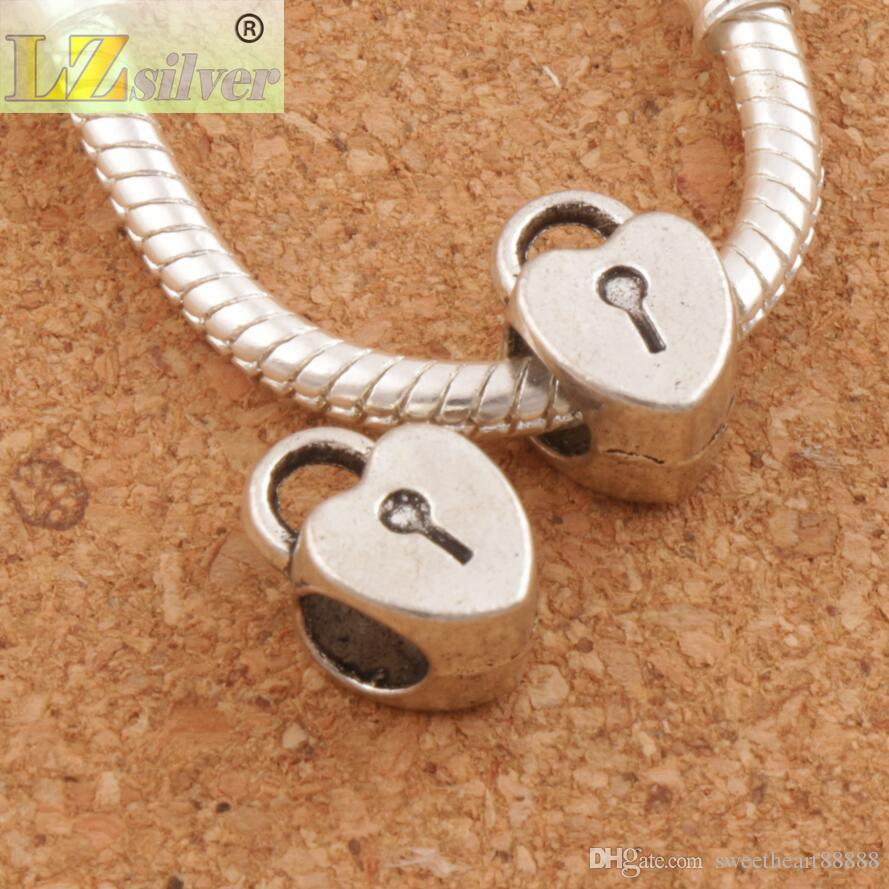 Сердце медальон сплава металла большое отверстие бусины 100 шт./лот 7.6x12 мм Античное серебро Fit европейский шарм браслеты L1271