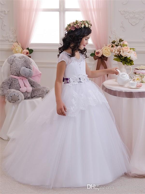 Pretty Scoop White Dress With Purple Sash Puffy Princess Dress