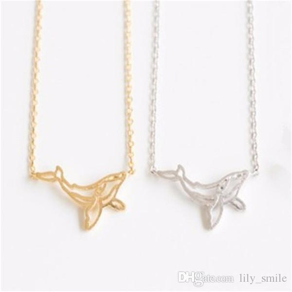 Wholesale Hot Selling Hollow Folding Origami Necklace Whale Animal