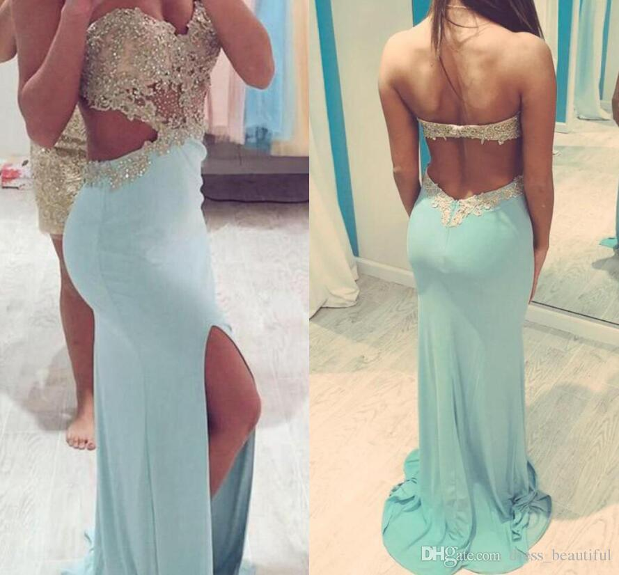 2016 Prom Dresses with Slit Side Cut Out Sweetheart Sexy Party Dresses Beaded Appliques Backless Dresses Party Evening Gowns