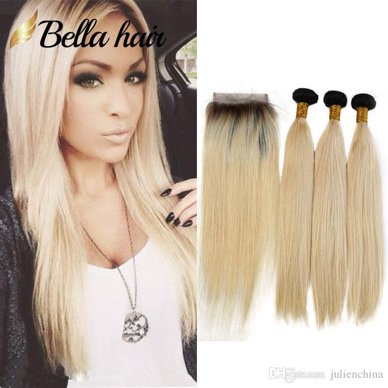 Bella Hair10a Straight 1b Black Root With Honey Blonde Human Hair
