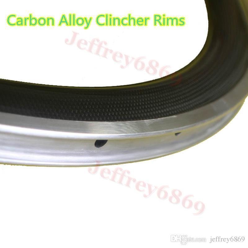 U shaped Carbon Fiber 50mm Alloy Carbon Wheels Road Bike Clincher Carbon Wheelset Racing Bike Wheels