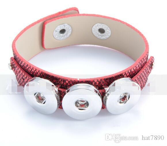 / moda rosso nero vendita calda cuoio DELL'UNITÀ di elaborazione braccialetto fai da te 18mm noosa pulsante braccialetto bangle pulsante a scatto braccialetto gioielli fai da te fit 18mm fascino