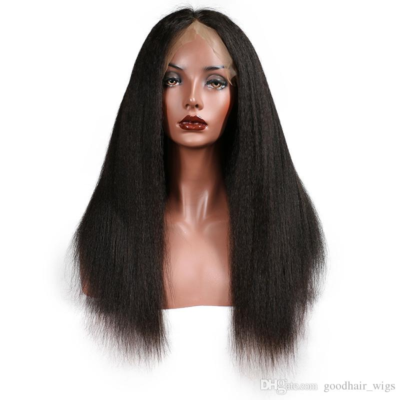 Light Yaki Straight Human Hair Full Lace Wigs,4x4'' Silk Top Italian Yaki Brazilian Virgin Hair Wigs,Glueless Remy Kinky Straight Lace Wigs