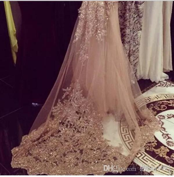 2017 Champagne Shiny Bridal Wedding Veil Cathedral Length Applique Crystals Netting Luxury Custom Made White Ivory With Comb