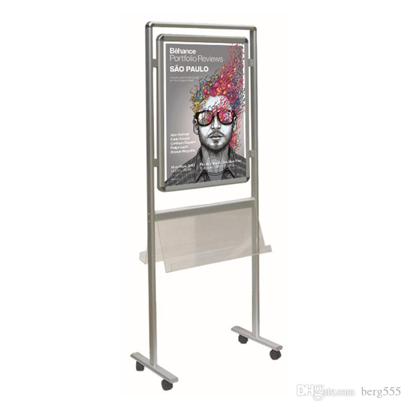 Movable Double Sided Snap Frame Stand with Aluminum Wheels Base Feet ...