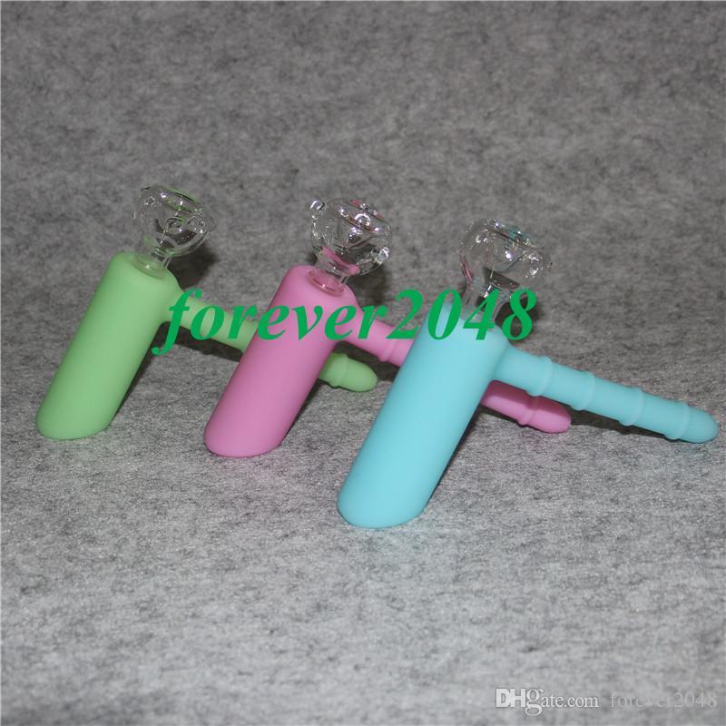 Im Dunkeln leuchten Mini Silikonwasserrohr bongs Silikonhandrohre Silizium Nektar Kollektor portable Wasserpfeife Bohrinsel Behälter
