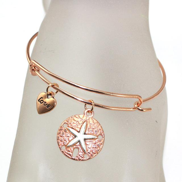 Venda quente estrela do mar cruz fio pulseira para as mulheres moda bonito jóias presente para mãe menina irmã frete grátis DIY atacado rosa de ouro