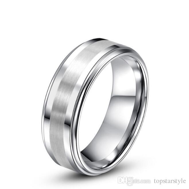 a0632f9b150f papá madre regalo 8 mm 6 mm de ancho alto polaco sted bordes y línea  cepillada centro anillo de bodas de carburo de tungsteno joyería clásica  anillo de dedo ...