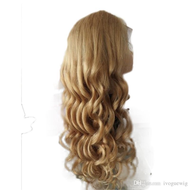 Miel rubia peluca llena del cordón pelo humano onda suelta Virgen brasileña ondulada frontal del cordón peluca de pelo humano con flequillo bebé color de pelo # 27
