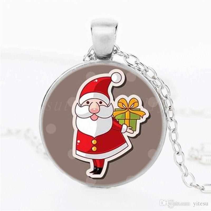 DIY Christmas Jewelry For Kids Santa Claus Gifts NecklaceHandmade Time gem Glass Cabochon Pendant Necklace Art Photo Accessories For Child