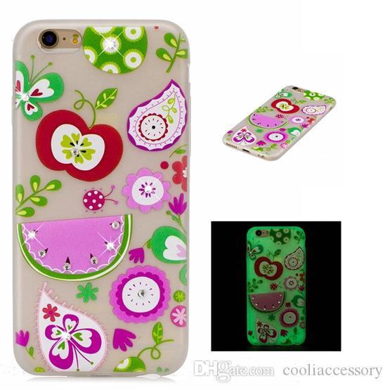 Luminous Diamond Bling Soft TPU Case For Iphone 8 7 PLUS 6 6S SE 5 5S Xiaomi Redmi 3S Flower Unicorn Cartoon Relief Glow In Dark Skin Cover