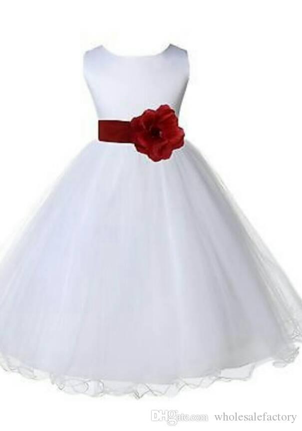 Little White Flor Girl Vestidos Mais barato 2017 Ball Vestido Princesa Crianças Primeira Comunhão Vestidos De Festa de Aniversário Com Sash