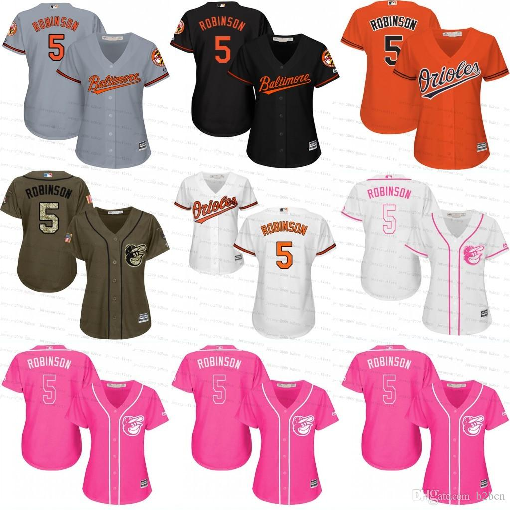 6936ea33a ... Mitchell And Ness 5 Baltimore Orioles Throwback Mens MLB 2017 2017  Womens Baltimore Orioles 5 Brooks Robinson Custom Baseball Jersey White Grey  Black ...