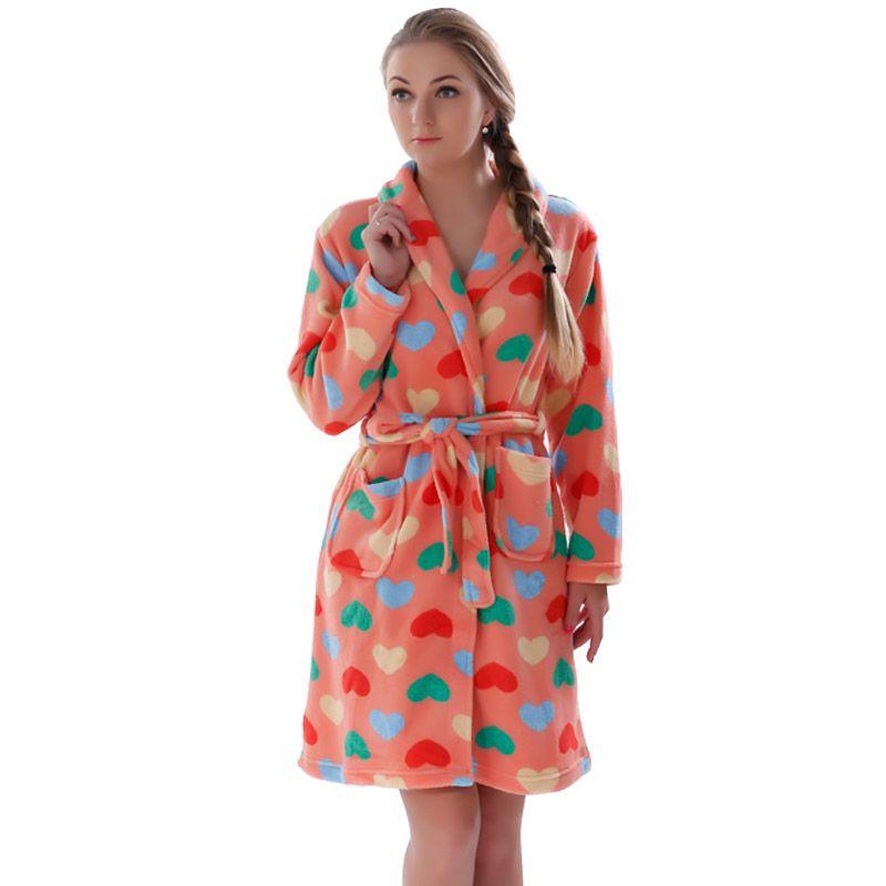 70ad61855b Wholesale- Ladies Winter Autumn Soft Coral Fleece Bath Robe Love ...