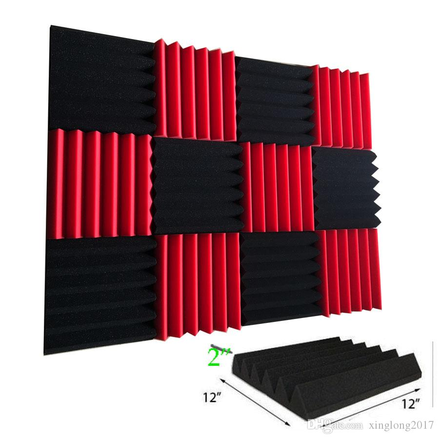 Merveilleux 12 Pack Wedge RED/CHARCOAL Acoustic Soundproofing Studio Foam Tiles 2 X 12  X 12 Acoustic Soundproofing Studio Foam Tiles KTV Online With $23.99/Set On  ...