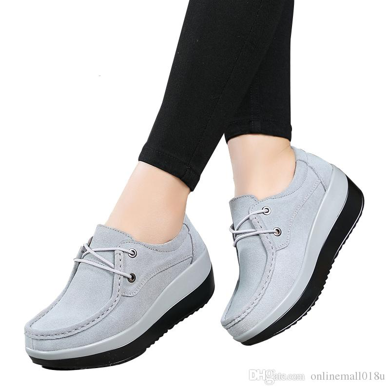 2017 Autumn women flats shoes thick soled high platform shoes leather suede ladies casual shoes lace up flats creepers