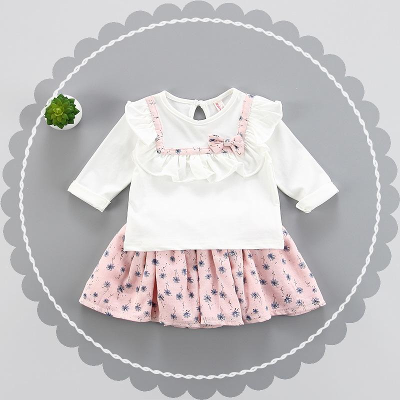 Clear Stock Girls Ruffle Tops+Floral Skirt Set 2019 Kids Boutique Clothing Korean Little Girls White Bow T-shirt with Skirts Outfits