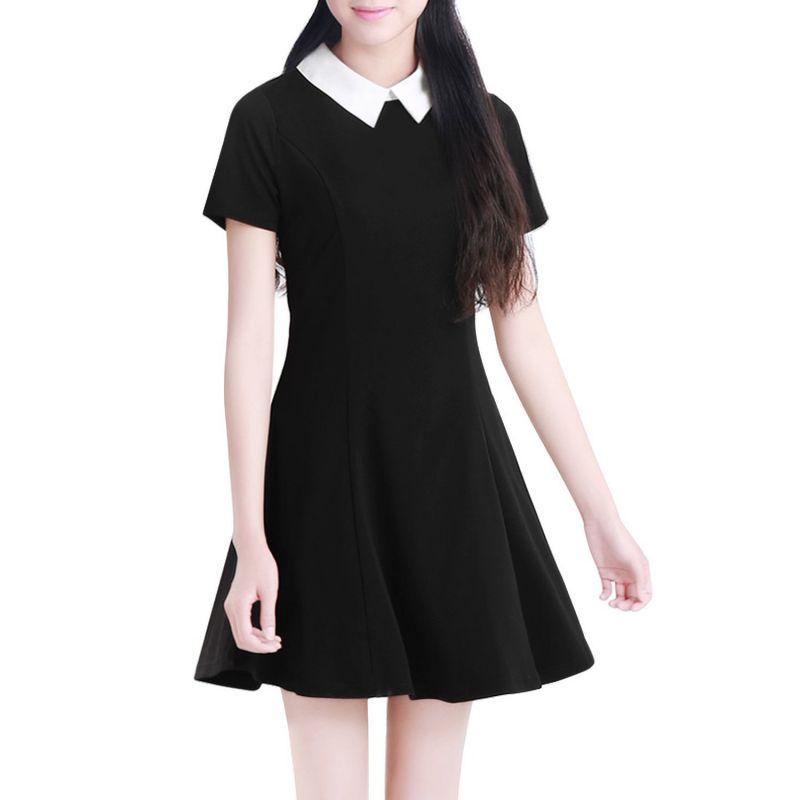 Wholesale- Black Dress White Collar Summer Cute Peter Pan Collar School  Preppy Style Dresses Zipper Short Sleeve Brand Vestidos Femininos