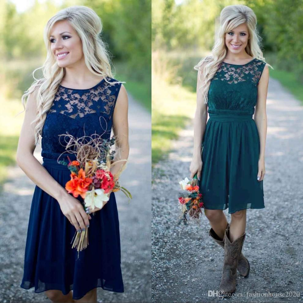 Cheap lace country bridesmaid dresses 2018 navy blue short cheap lace country bridesmaid dresses 2018 navy blue short bridesmaids dress knee length maid honor gowns under 100 sexy lace party dresses bridesmaid ombrellifo Choice Image