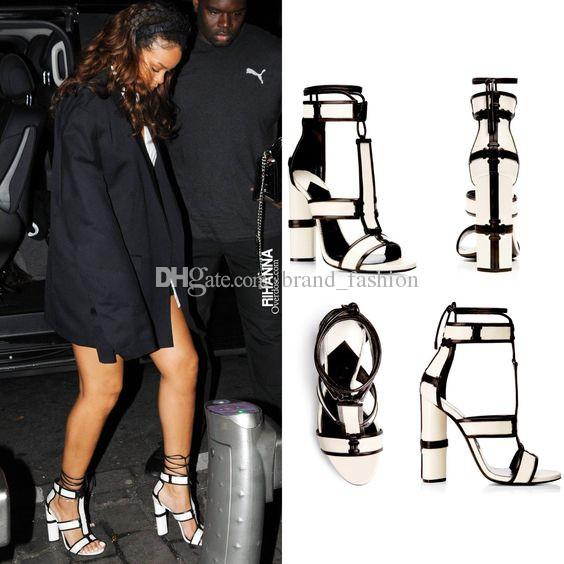 Patchwork Leather Cage Sandals Block High Heels Summer Celebrity Fashion Women Strappy Sandals Pumps Shoes