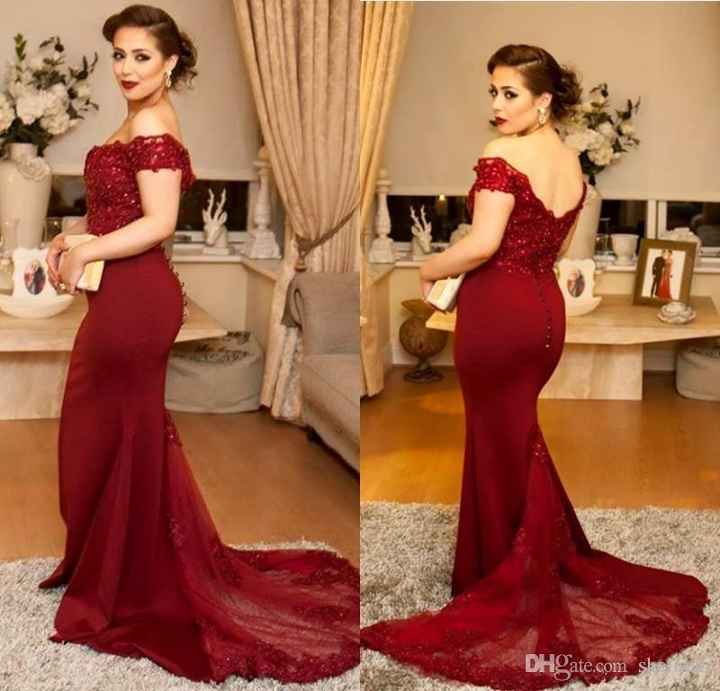 2018 Elegant Burgundy Elastic Satin Off Shoulders Mermaid Formal Prom Dresses Lace Long Evening Gowns Dresses Vestidos de Festa Custom Made